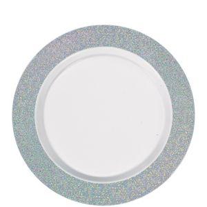 White Prismatic Silver Border Premium Plastic Lunch Plates 20ct