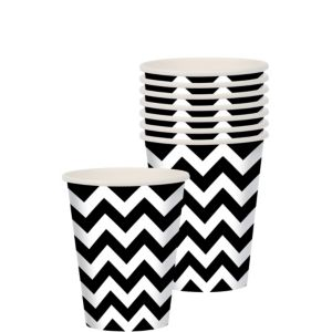 Black Chevron Paper Cups 8ct