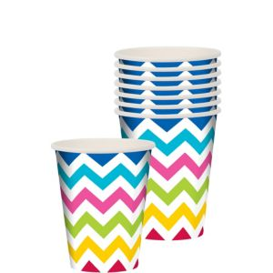 Bright Chevron Paper Cups 8ct