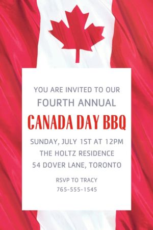 Custom Waving Canadian Flag Invitation