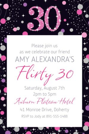Custom Pink Sparkling Celebration 30 Invitation