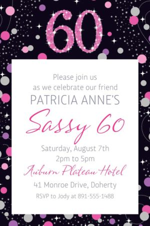 Custom Pink Sparkling Celebration 60 Invitation