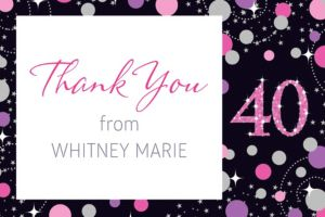 Custom Pink Sparkling Celebration 40 Thank You Note