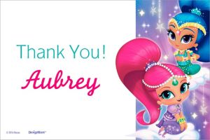 Custom Shimmer and Shine Thank You Note