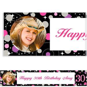 Custom Pink Sparkling Celebration 30 Photo Banner