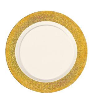 Cream Prismatic Gold Border Premium Plastic Lunch Plates 20ct