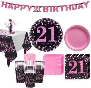 Pink Sparkling Celebration 21st Birthday Party Kit for 32 Guests
