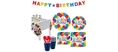 Rainbow Balloon Bash Birthday Party Kit for 60 Guests