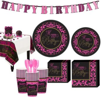 Fabulous Celebration Damask Birthday Party Kit for 36 Guests