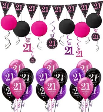 Pink Sparkling Celebration 21st Decorating Kit with Balloons