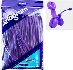 Long Purple Twisting Balloons 100ct