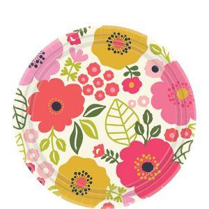 Coral Floral Dessert Plates 8ct