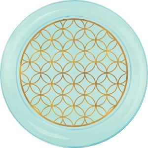 Metallic Geometric Robin's Egg Blue Plastic Lunch Plates 20ct