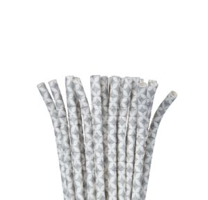 Silver Diamond Flexible Paper Straws 24ct