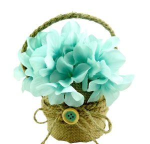 Burlap Blue Flower Pot