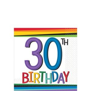 Rainbow 30th Birthday Beverage Napkins 16ct