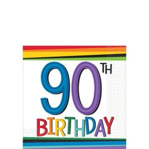 Rainbow 90th Birthday Beverage Napkins 16ct