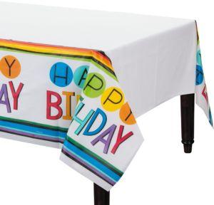 Rainbow Happy Birthday Table Cover