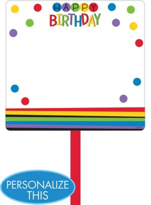 Rainbow Happy Birthday Blank Yard Sign
