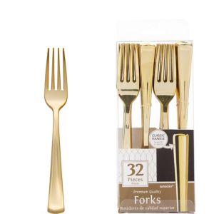 Gold Premium Plastic Forks 32ct