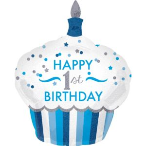 Blue Cupcake 1st Birthday Balloon