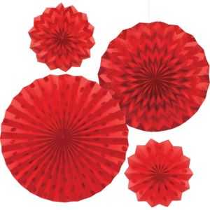 Glitter Red Polka Dot & Chevron Paper Fan Decorations 4ct