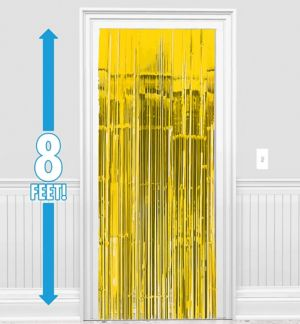 Sunshine Yellow Fringe Doorway Curtain 3ft X 8ft Party City