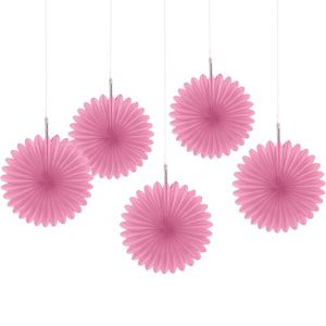 Pink Mini Paper Fan Decorations 5ct
