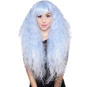 Crimped Light Blue Sax Fade Cosplay Wig