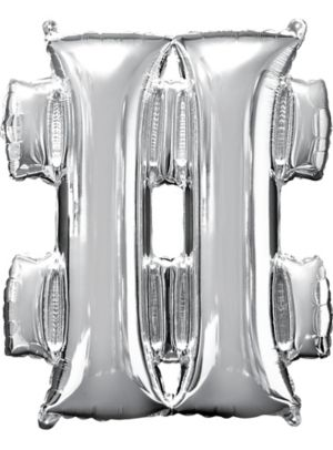 Giant Air-Filled Silver Hashtag Balloon