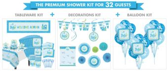 Welcome Baby Boy Premium Baby Shower Kit for 32 Guests