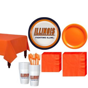 Illinois Fighting Illini Basic Party Kit for 16 Guests