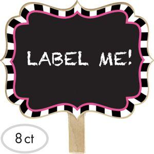 Black & White Striped Chalkboard Label Clips 8ct