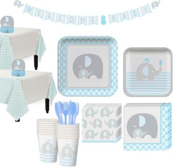 Blue Baby Elephant Tableware Kit 16 Guests