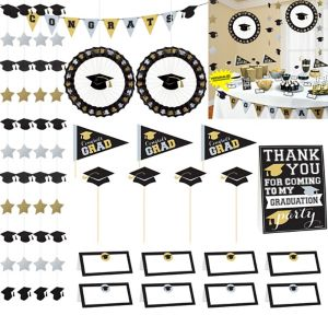 Black, Gold & Silver Graduation Buffet Decorating Kit 23pc