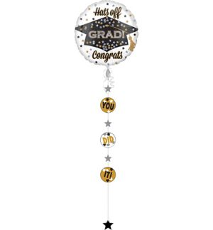 Giant Prismatic Graduation Balloon with Balloon Weight Tail