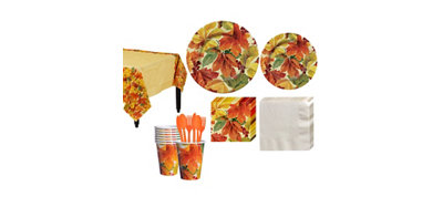 Elegant Leaves Fall Tableware Kit for 8 Guests