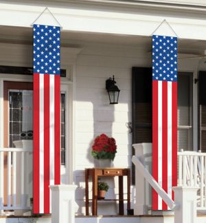 American Flag Vertical Banners 2ct