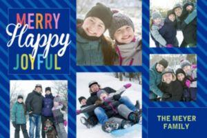 Custom Merry Happy Joyful Collage Photo Card