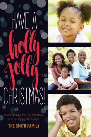 Custom Holly Jolly Script Collage Photo Card