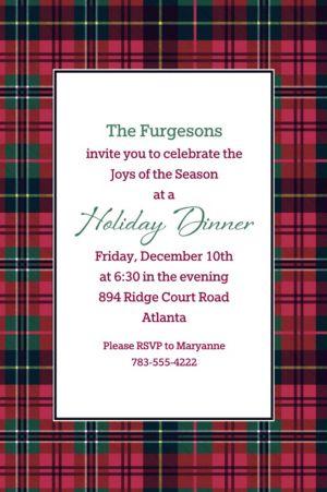 Custom Holiday Plaid Invitation