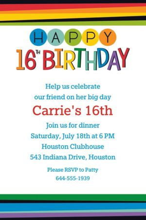 Custom Rainbow 16th Birthday Invitation