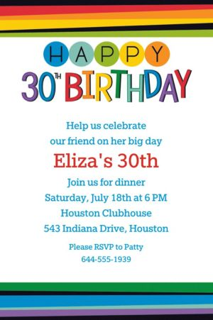 Custom Rainbow 30th Birthday Invitation