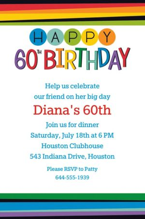 Custom Rainbow 60th Birthday Invitation