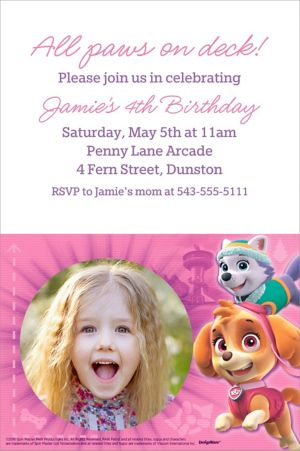 Custom Pink PAW Patrol Photo Invitation