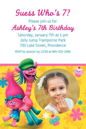 Custom Trolls Photo Invitation
