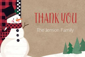 Custom Winter Wonder Snowman Thank You Note