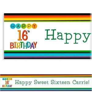 Custom Rainbow 16th Birthday Banner