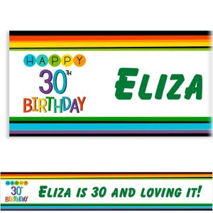 Custom Rainbow 30th Birthday Banner