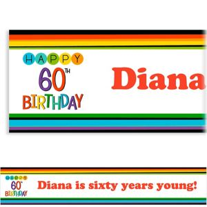Custom Rainbow 60th Birthday Banner